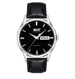 Tissot Tissot Heritage Visodate Automatic Men's Silver Tone Black Dial Black Leather Strap Watch