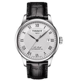 Tissot Tissot Le Locle Powermatic 80 Men's Silver Tone Black Leather Strap Watch