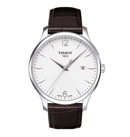 Tissot Tissot Tradition Mens White Dial Watch  with Brown Strap