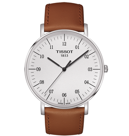 Tissot Tissot Everytime Large Men's Silver Tone Beige Leather Strap Watch