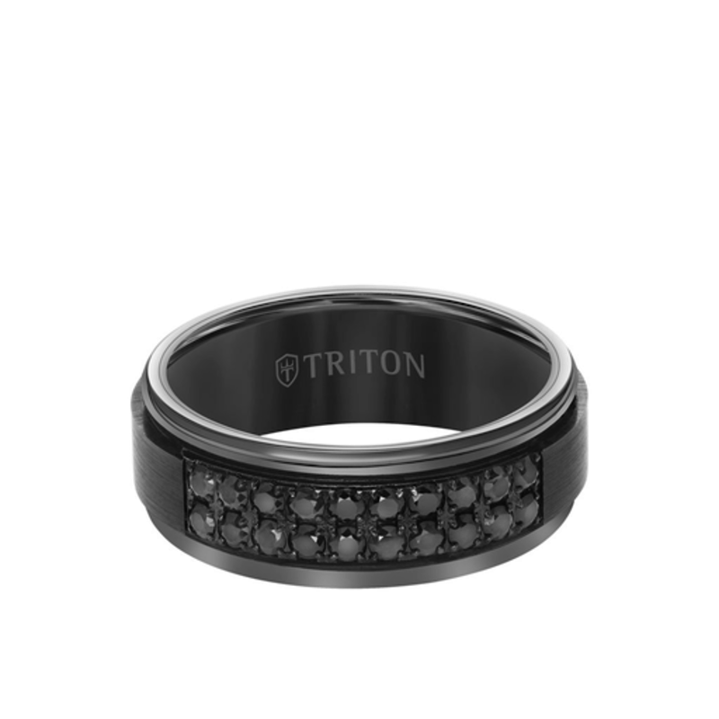 Triton Triton Black Tungsten with Black Sapphire Mens Band