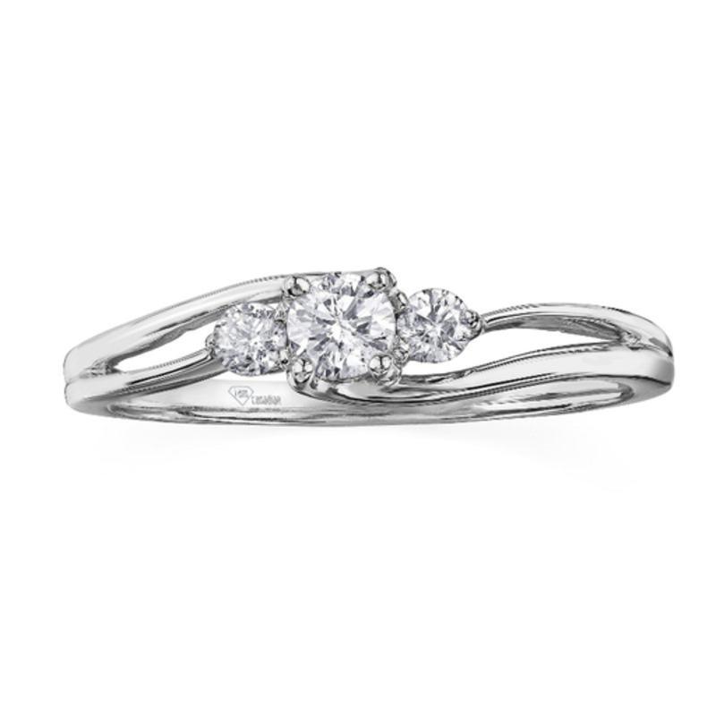 I am Canadian 10K White Gold (0.25ct) Canadian Diamond Three Stone Ring