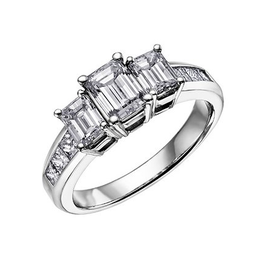 Three Stone (1.00ct) Diamond Ring 18K White Gold