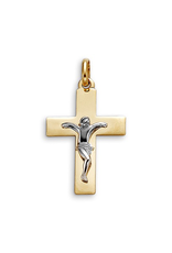 10K Yellow and White Gold Crucifix Pendant