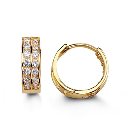 14K Yellow Gold Two Row CZ Huggie Earrings