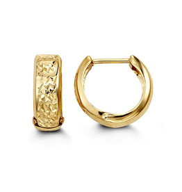 Yellow Gold Diamond Cut Huggie Hoop Earrings