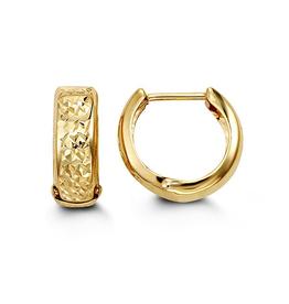 Yellow Gold Diamond Cut Huggie Hoop Earrings