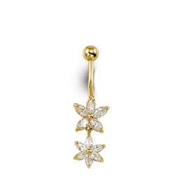 14K Yellow Gold CZ Double Flower Belly Button Ring