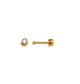 14K Yellow Gold CZ Bezel Set Nose Stud