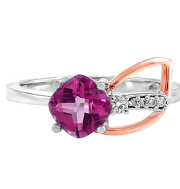 Pink Topaz & Diamond Two Tone Ring