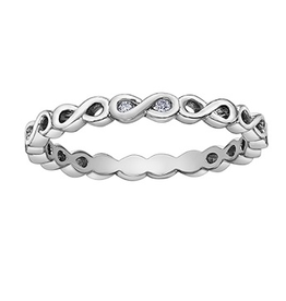 10K White Gold (0.015ct) Diamond Stackable Infinity Band