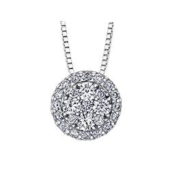 14K White Gold Estoria (0.33ct) Cluster Diamond Pendant