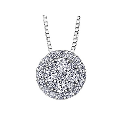 Estoria White Gold (1.00ct) Cluster Diamond Pendant