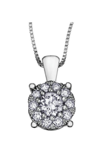 10K White Gold Starburst (0.09ct) Diamond Cluster Halo Pendant