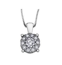 10K White Gold Starburst (0.09ct) Diamond Cluster Halo Pendant