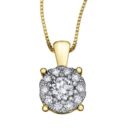 14K Yellow Gold Starburst (0.25ct) Diamond Cluster Halo Pendant