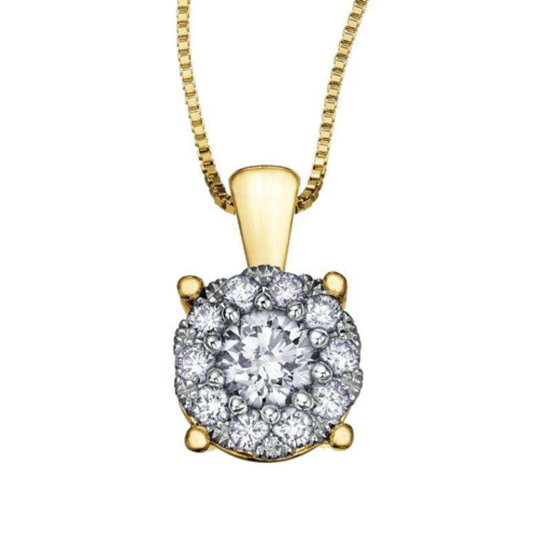 Starburst Yellow Gold (0.35ct) Cluster Diamond Pendant