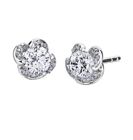 Maple Leaf Diamonds White Gold (0.20ct) Winds Embrace Canadian Diamond Stud Earrings