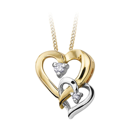 Yellow & White Gold (0.03cttw) Diamond Double Heart Pendant