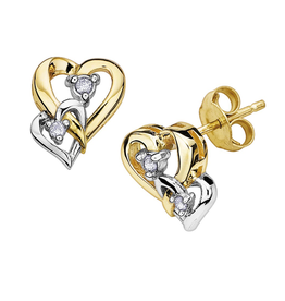 Two Tone Double Hearts Diamond Earrings