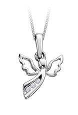 White Gold (0.03ct) Diamond Angel Necklace