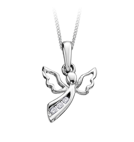 White Gold (0.03ct) Diamond Angel Necklace