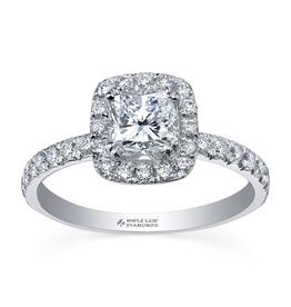 Maple Leaf Diamonds 18K Palladium White Gold Maple Leaf (0.85ct) Cushion Cut Canadian Diamond Halo Engagement Ring