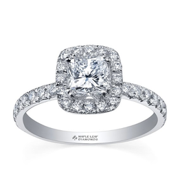 Maple Leaf Diamonds Maple Leaf Canadian Diamond (0.85ct) Halo 18K White Gold Engagement Ring