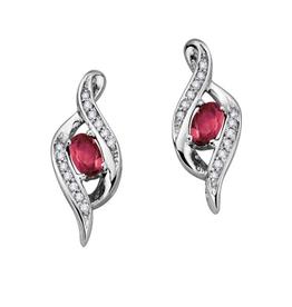 10K White Gold Diamond Ruby July Birthstone Earrings