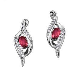White Gold Diamond Ruby July Birthstone Earrings