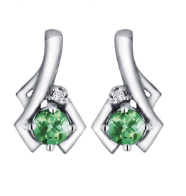 White Gold Emerald and Diamond Earrings May Birthstone