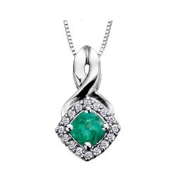 Emerald & Diamond Pendant 10K White Gold
