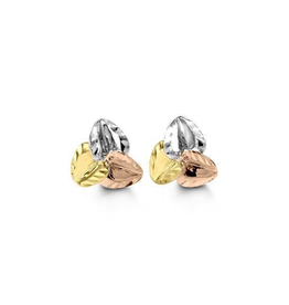 10K Yellow, White and Rose Gold Diamond Cut Leaf Earrings