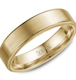 Crown Ring Crown Ring Yellow Gold Flat Brush 5.5mm Men's Wedding Band