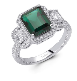 Lafonn Glamorous Simulated Diamonds and a Simulated Emerald in Sterling Silver Ladies Ring