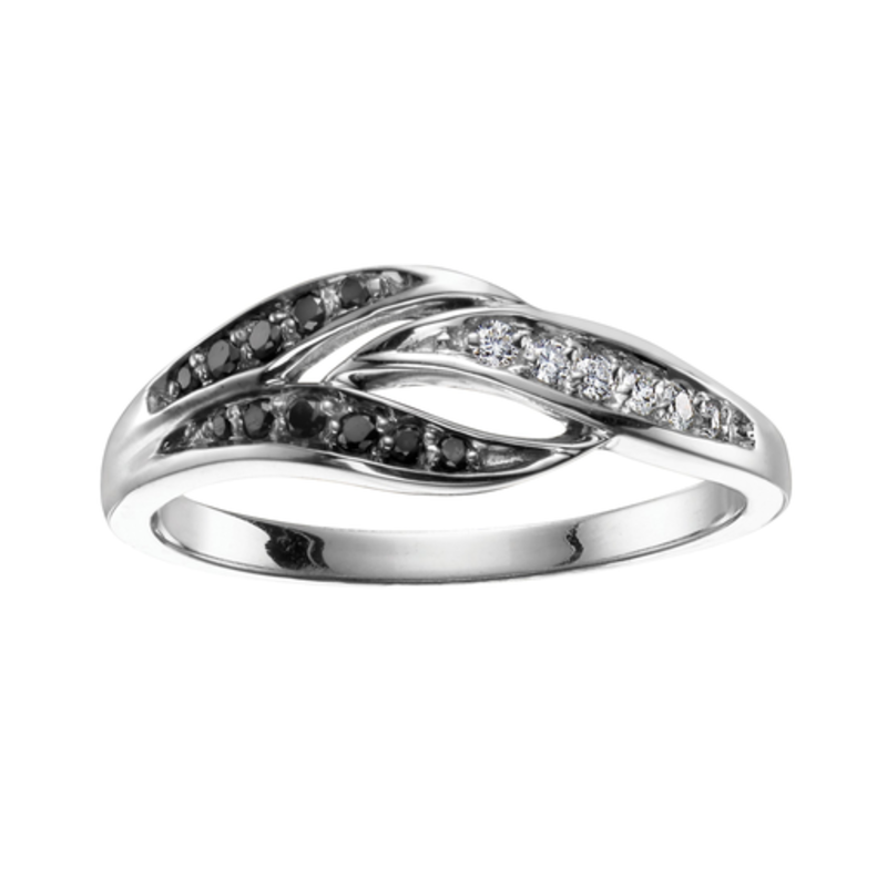 10K White Gold (0.12ct) Diamond and Black Diamond Fancy Ring