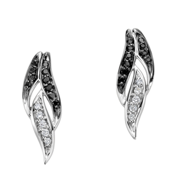 White Gold (0.15ct) Diamond and Black Diamond Stud Earrings