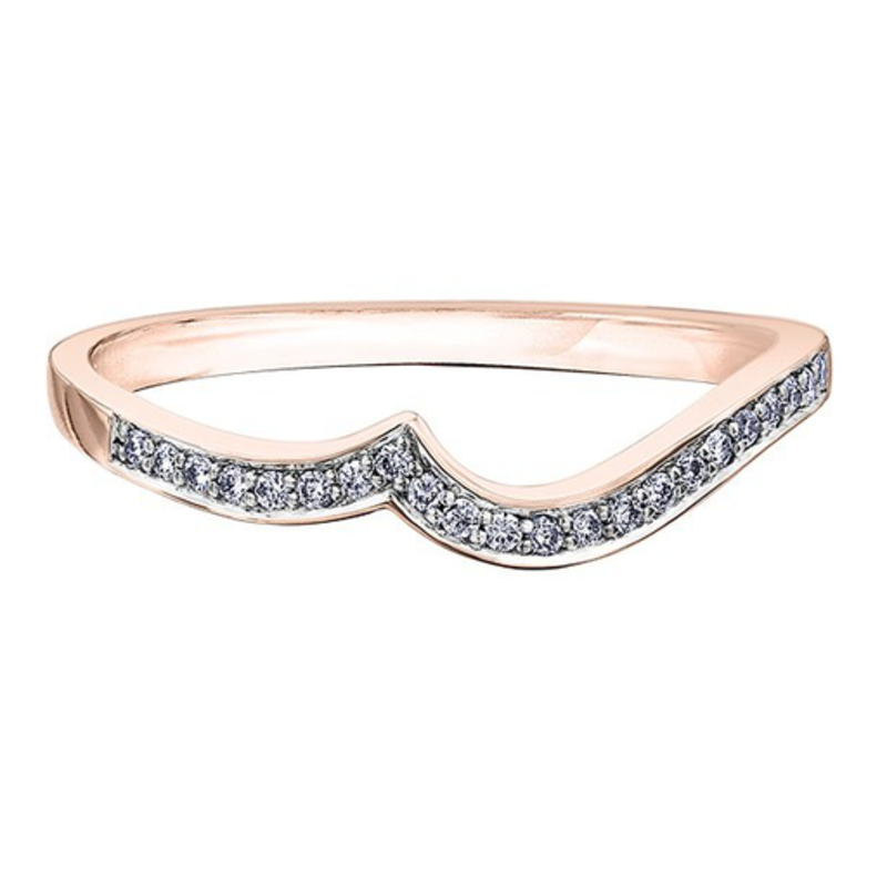 10K Rose Gold (0.09ct) Diamond Pavee Matching Wedding Band
