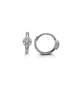 14K White Gold Cluster CZ Baby Huggie Earrings