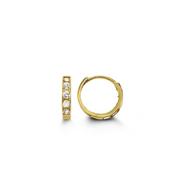 Yellow Gold Baby CZ Huggie Hoop Earrings