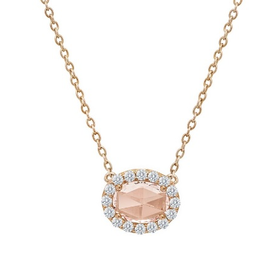 Lafonn Lafonn Halo Simulated Morganite and Diamond Rose Gold Bonded Necklace