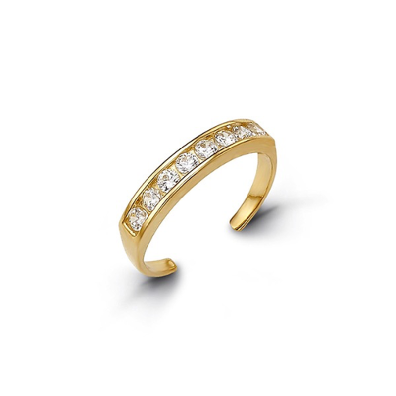 10K Yellow Gold CZ Channel Set Toe Ring