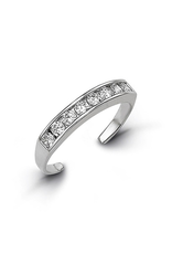 White Gold CZ Channel Set Toe Ring