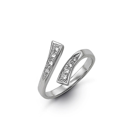 White Gold CZ Pavee Set Toe Ring