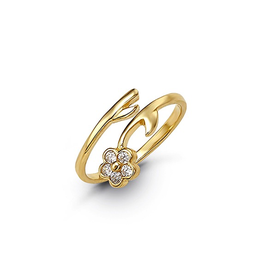 Yellow Gold CZ Flower Toe Ring
