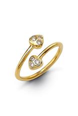 10K Yellow Gold CZ Double Heart Toe Ring