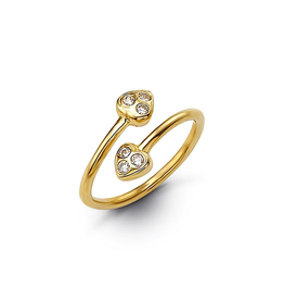 Yellow Gold CZ Double Heart Toe Ring