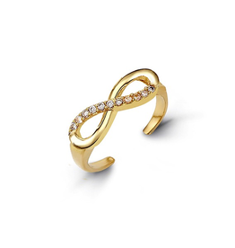 Yellow Gold CZ Infinity Toe Ring