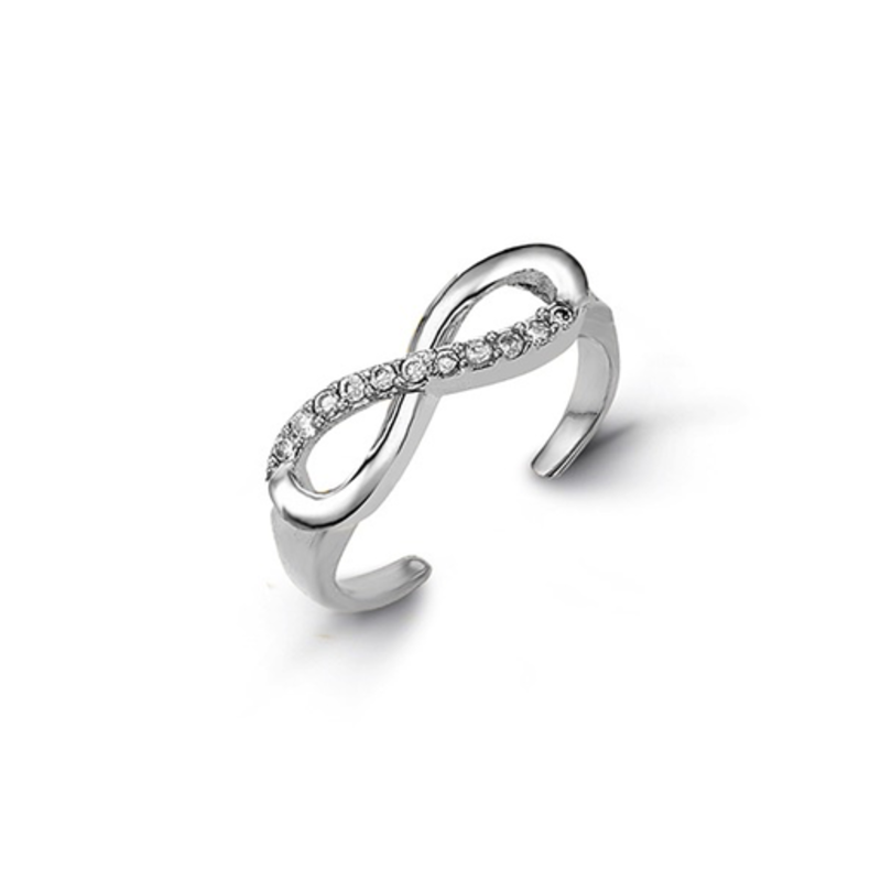 White Gold CZ Infinity Toe Ring