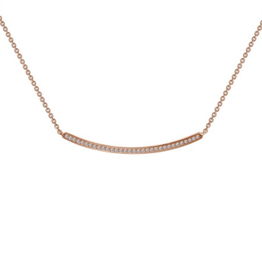 Lafonn Lafonn`s Silver Rose Gold Plated Curved Bar Necklace with Simulated Diamonds